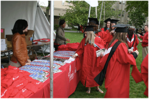 Our book at St. John's University graduation